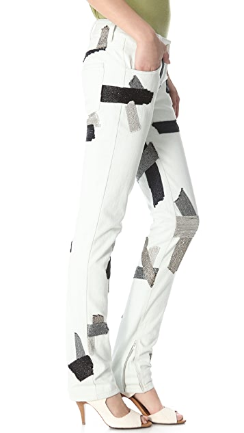 3.1 Phillip Lim Chain Patchwork Jeans