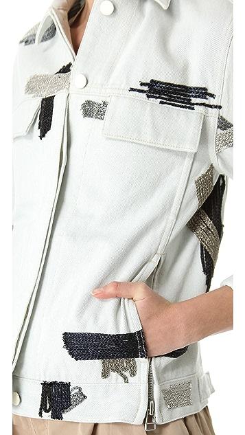 3.1 Phillip Lim Chain Patchwork Denim Jacket
