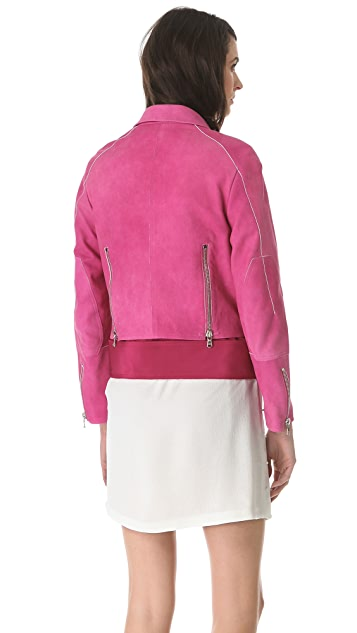 3.1 Phillip Lim Watercolor Nubuck Biker Jacket