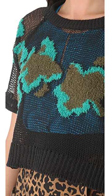 3.1 Phillip Lim Intarsia Crop Sweater with Short Sleeves