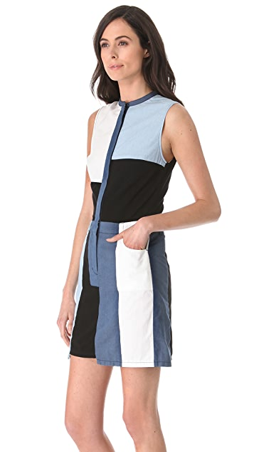 3.1 Phillip Lim Cut-Up Chambray Dress