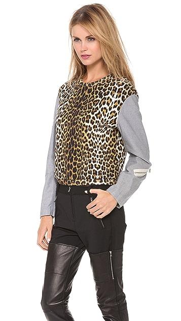 3.1 Phillip Lim Leopard Combo Zip Sweatshirt