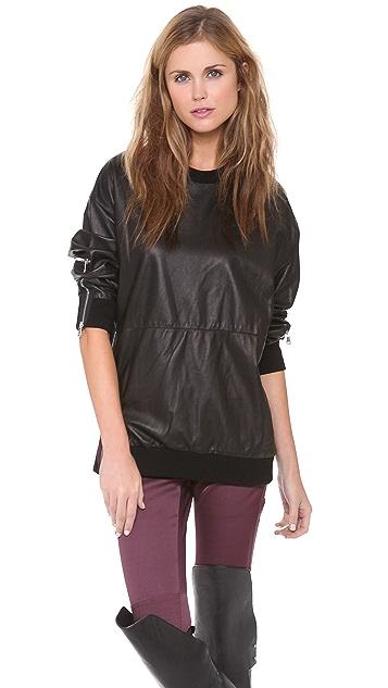 3.1 Phillip Lim Zip Leather Sweatshirt
