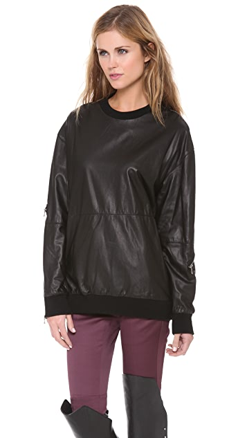 3.1 Phillip Lim Zip Leather Sweatshirt