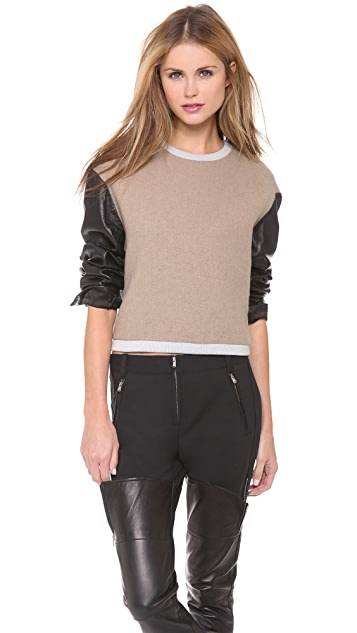3.1 Phillip Lim Leather Sleeve Tricolor Top