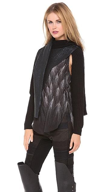 3.1 Phillip Lim Metallic Print Tie Sweater