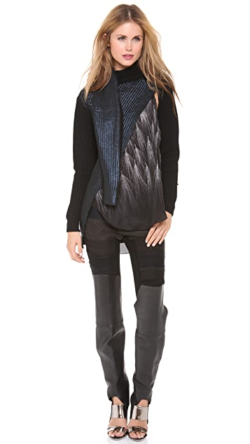 3.1 Phillip Lim Metallic Print Tie Sweater