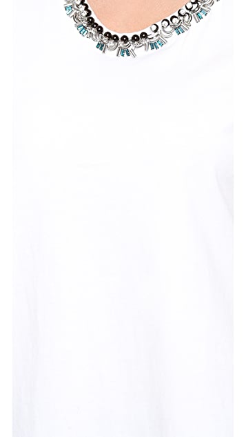 3.1 Phillip Lim Overlapped Side Seam Tee with Beaded Neckline