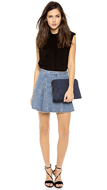 3.1 Phillip Lim Denim Peplum Flare Skirt
