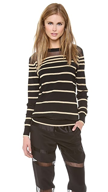 3.1 Phillip Lim Sheer Lurex Stripe Pullover