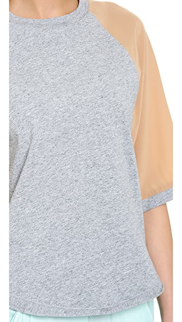3.1 Phillip Lim Contrast Sleeve Baseball Shirt