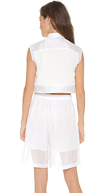 3.1 Phillip Lim Cropped Collared Tank Top