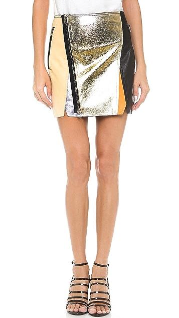 3.1 Phillip Lim Crossover Biker Leather Skirt