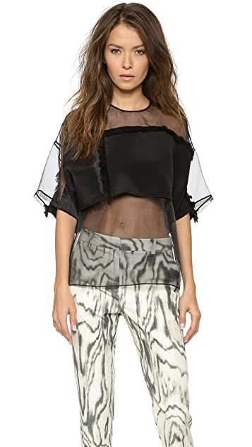 3.1 Phillip Lim Fringe Organza Modesty Top