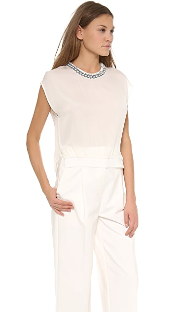 3.1 Phillip Lim Sleeveless Top with Rib Trim & Beading