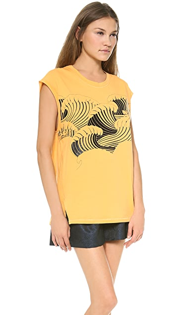 3.1 Phillip Lim Tidal Waves Foiled Muscle Tank