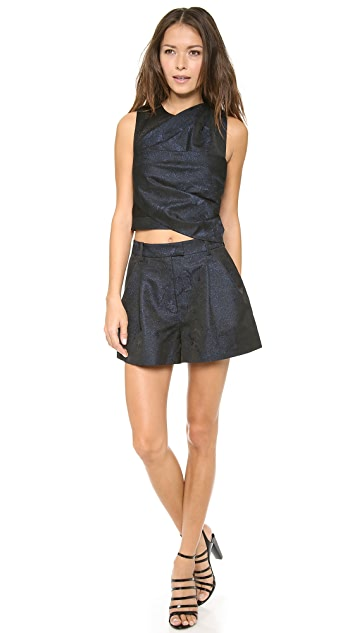 3.1 Phillip Lim Twisted Origami Pleated Cropped Top