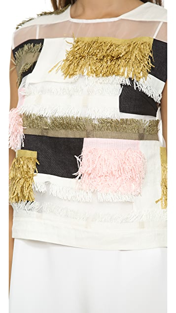 3.1 Phillip Lim Raffia Patchwork Dress