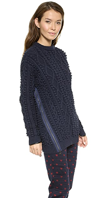 3.1 Phillip Lim Zip Cable Knit Pullover