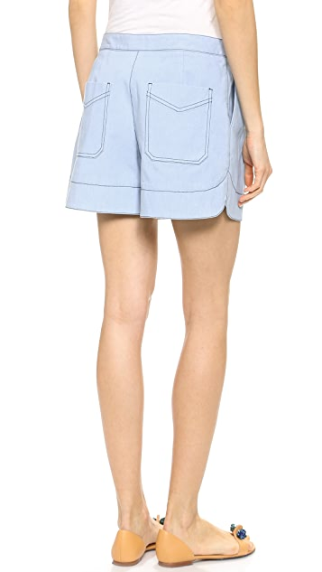 3.1 Phillip Lim Chambray Bonded Shorts