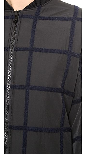 3.1 Phillip Lim Oversized Long Grid Bomber Coat