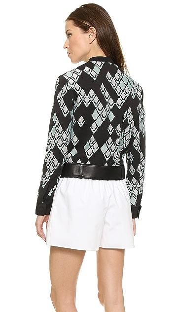 3.1 Phillip Lim Leather Trim Jacquard Jacket