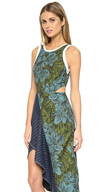 3.1 Phillip Lim Floral Dress with Cascading Ruffle