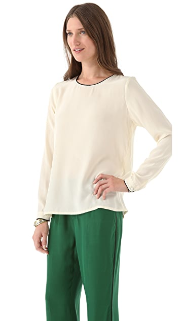Piamita Juliet Piped Blouse