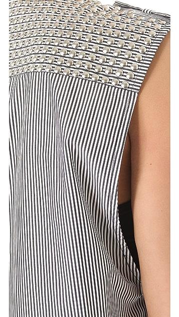 Pierre Balmain Stripe Studded Sleeveless Top