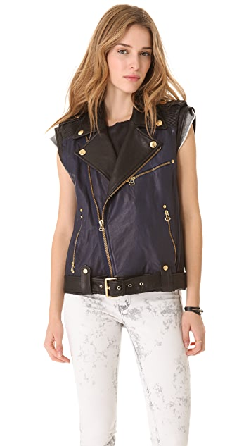 Pierre Balmain Leather Biker Vest
