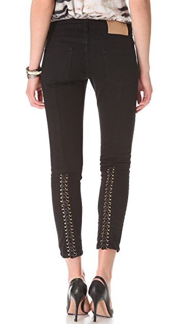 Pierre Balmain 5 Pocket Lace Up Jeans