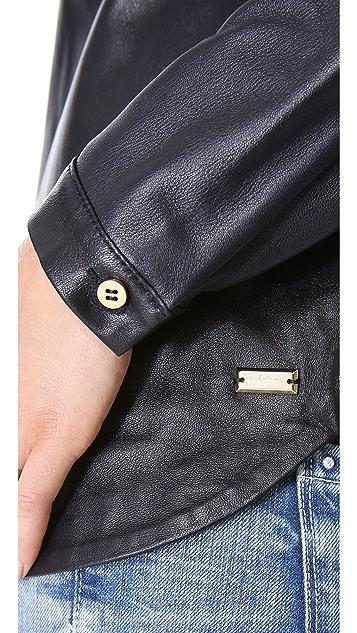 Pierre Balmain Leather Blouse