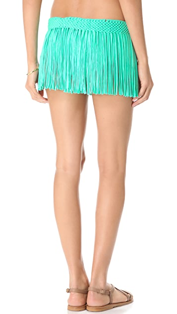 PilyQ Blue Haze Fringe Skirt
