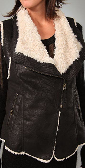 Plastic Island Stoneage Faux Leather Zip Vest