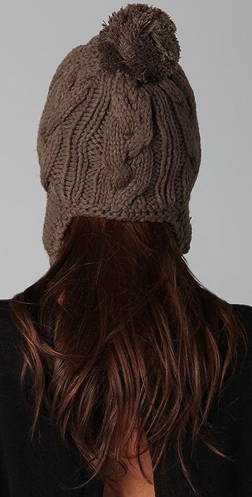 Plush Pom Pom Hat with Fleece Lined Ear Flaps