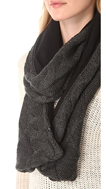 Plush Cable Knit Fleece Lined Scarf