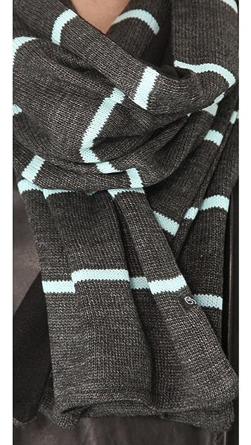 Plush Striped Fleece Lined Scarf