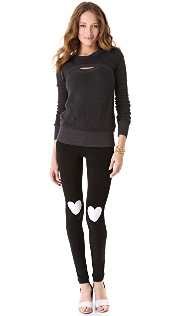 Plush Heart Print Leggings