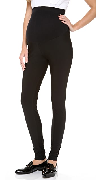 Plush Fleece Lined Matte Spandex Maternity Leggings - Black