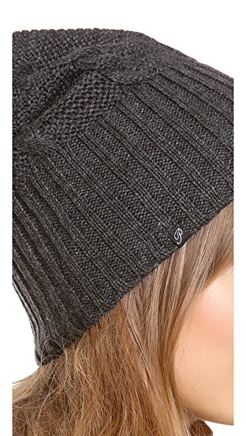 Plush Cable Knit Pom Pom Hat