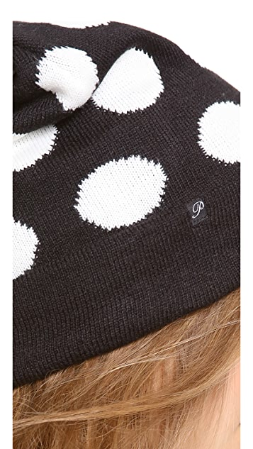 Plush Polka Dot Pom  Hat
