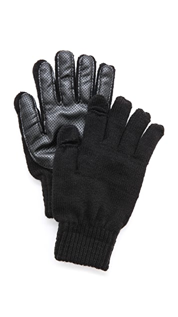 Plush Perforated Faux Leather Smartphone Gloves