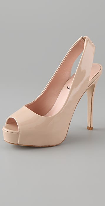 Pencey Blanche Open Toe Platform Pumps