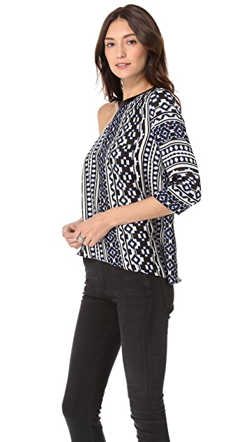 Pencey Ikat One Shoulder Blouse