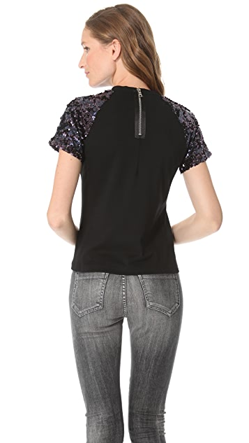 Pencey Sequin Top with Short Sleeves