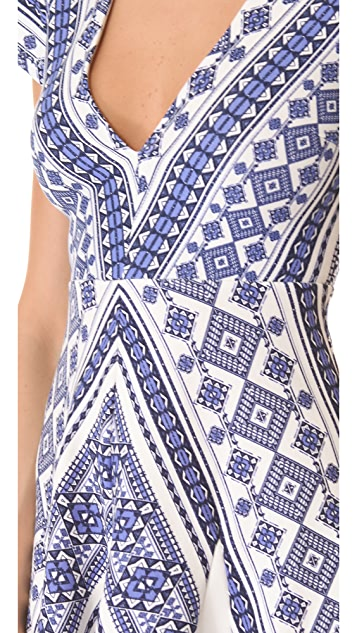 Pencey Geo Print Deep V Dress