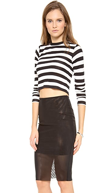 Pencey Crop Long Sleeve Stripe Tee