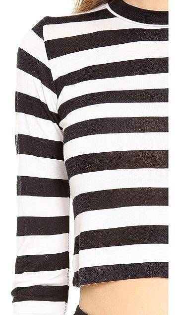 Pencey Crop Long Sleeve Stripe Tee