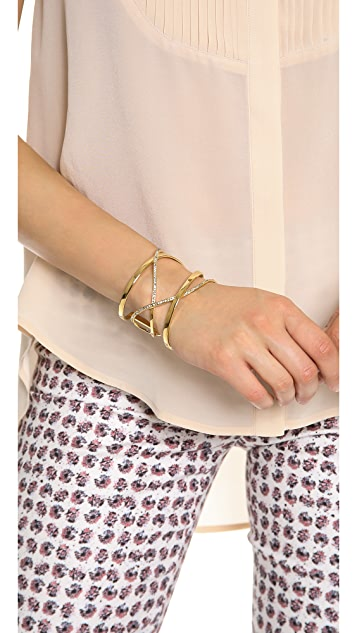 Paige Novick Gemma Collection Small Crisscross Cuff with Pave Line