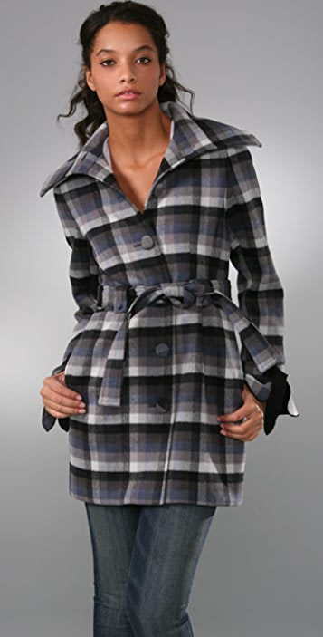 Porter Grey Plaid Coat with Fold Over Collar